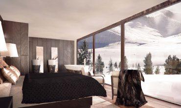 Dormitorio nature house con vistas a montaña